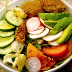 Salad with Falafel, Tomato, and Vegetables