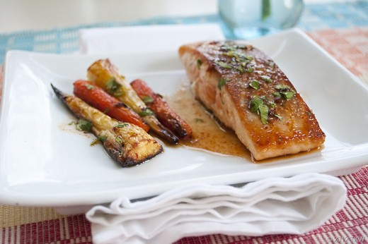 Salmon with Maple Chiiptle Sauce