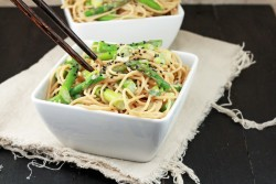 Sesame Noodles with Asparagus and Scallions