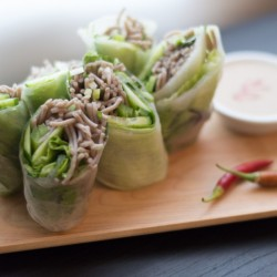 Soba Spring Rolls with Sesame Sauce