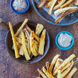 Baked Parsnip Fries with Creamy Balsamic Reduction Dip Recipe