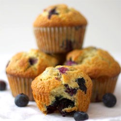 Blueberry Cream Flax Seed Muffins