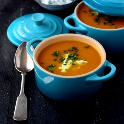Chilled Spicy Carrot Soup with Yogurt Sauce