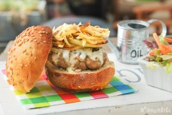 Gorgonzola Pear Caramelized Onion Burger Recipe