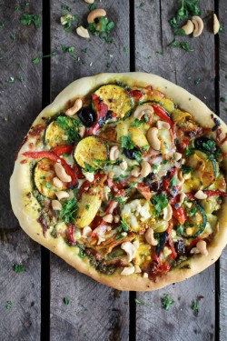 Moroccan Pesto Pizza with Garden Veggies and Feta Cheese Recipe