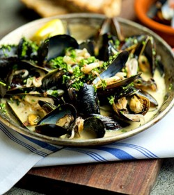 Mussels in White Wine and Coconut-Basil Sauce