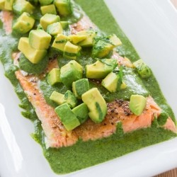 Oven Poached Salmon with Cilantro Parsley Salsa Verde Recipe