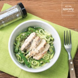 Pesto Zucchini Noodles w/ Chicken