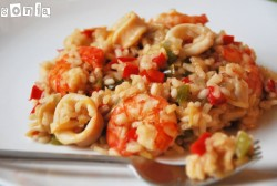 Rice with Vegetables Prawns and Squid Recipe
