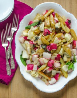 Roasted Potatoes, Radishes