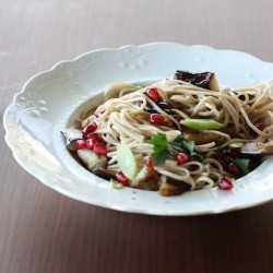 Soba Noodles with Eggplant and Pomegranate