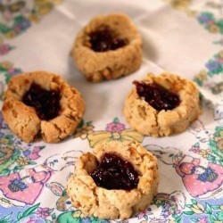 Vegan Raspberry Walnut Thumbprint Cookies
