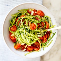 Zucchini Noodles with Pesto and Roasted Cherry Tomatoes