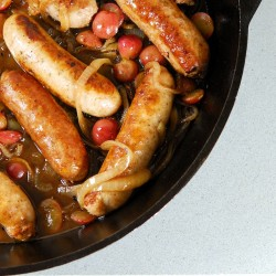 Braised Sausage with Balsamic Onions and Grapes
