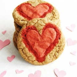 Brown Sugar Cookies with Pink Hearts