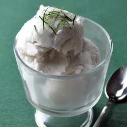 Coconut Sorbet with Kaffir Lime Syrup