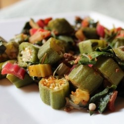 Curry Okra with Rainbow Chard Recipe
