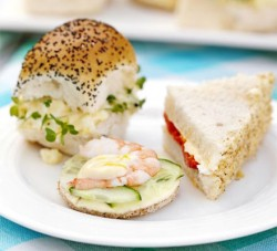 Egg Cress Goat Cheese Roasted Red Red Pepper and Cucumber Prawn Sandwiches for Summer
