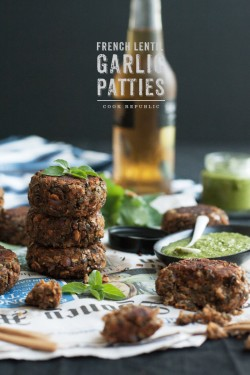 French Lentil Garlic Patties With Green Sauce