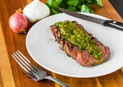 Grilled NY Strip Steak with Argentinian Hatch Chile Chimichurri Recipe