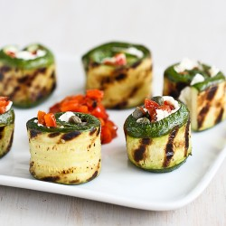 Grilled Zucchini Rolls with Goat Cheese Recipe