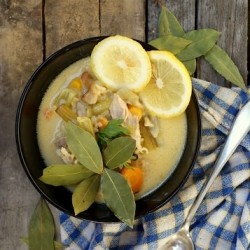 Lemon Soup with Chicken and Rice Recipe