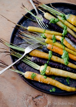 Oven Roasted Carrots with Carrot Top Pesto Recipe