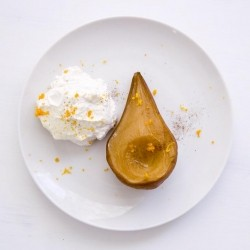 Roasted Pears with Pomander Cream