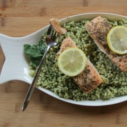 Salmon with Couscous and lemon basil Pesto Recipe