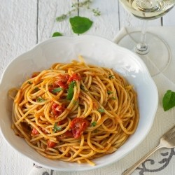 Spaghetti with Fresh Tomatoes and Anchovies Recipe