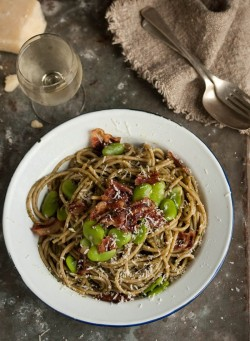 Spaghetti with Pesto Fava Beans and Bacon