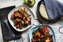 Tex Mex Vegetarian Hash with Black Beans Tomatoes Potatoes Tofu