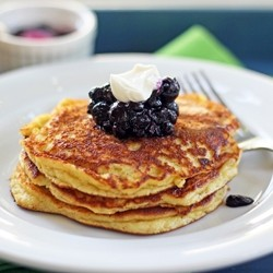 Banana Nut Pancakes with Blueberry Compote Recipe