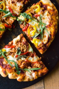 Grilled Pizza with Clams Arugula and Peppers Recipe
