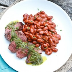 Hanger Steak with Cilantro Mint Chimichurri Sauce
