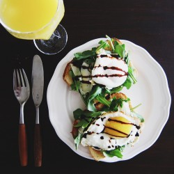 Open-Faced Sandwich with Arugula Artichoke Hearts Egg Balsamic Reduction Recipe