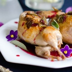 Quail with Sage and Raspberry Blueberry Violet Coulis