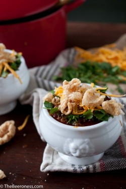 Chipotle Stout and Chorizo Chili Topped with Pork Rinds