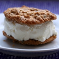 Chocolate Oatmeal Walnut Cookies Ice Cream Sandwiches