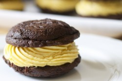 Fudge Chocolate Whoopie Pies with Pumpkin Cream Cheese Frosting Recipe