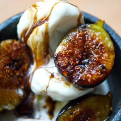Grilled Figs with Ice Cream Olive Oil and Balsamic