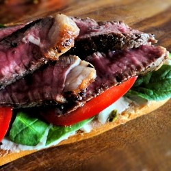 Lamb Steak on French Bread
