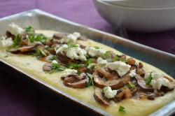 Mushroom and Caramelized Onion Polenta with Goat Cheese