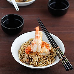 Prawns with Shiitake Mushrooms and Noodles Recipe