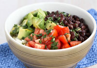 Rice Bowl with Black Beans Avocado Cilantro Recipe