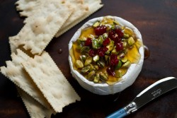 Spiced-Honey Baked Cheese with Pistachios and Cherries