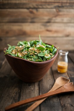 Spinach and Kamut Salad with Orange-Chili Dressing