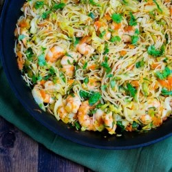 Stir Fry Noodles with Shrimp and Cabbage