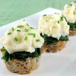 Turkey Meatloaf Muffins with Spinach and Roast Garlic mashed Potatoes