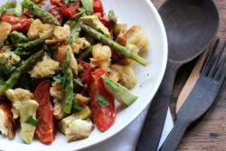 Asparagus Tomato and Avocado Panzanella Salad Recipe